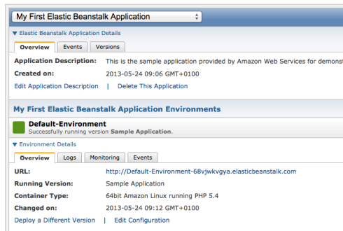 default Elastic Beanstalk application